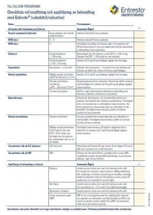 Checklista för insättning och uppföljning av behandling av ENTRESTO