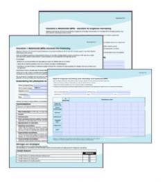 Bild som föreställer checklistor och tabell vid mph-behandling